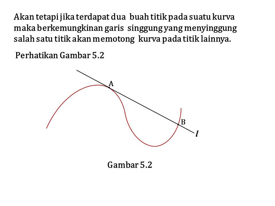 Untuk mendapatkan pengertian yang lebih jelas mengenai garis singgung kita perlu mendefinisikan kemiringan garis singgung l pada titik A(x1,f(x1)) yang terletak pada grafik fungsi.