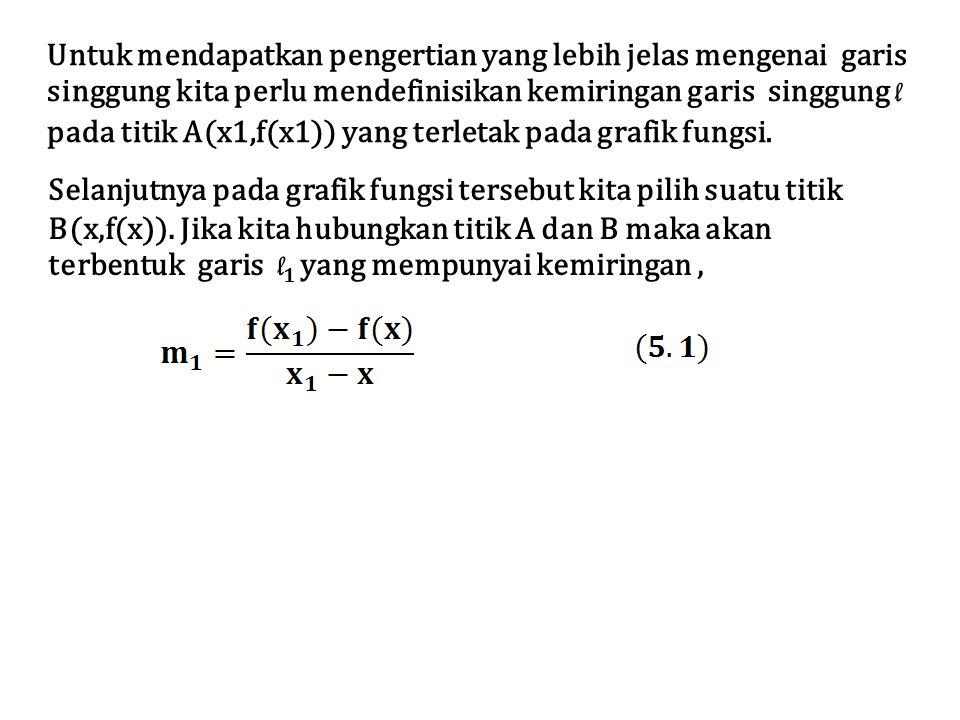 Untuk mendapatkan pengertian yang lebih jelas mengenai garis singgung kita perlu mendefinisikan kemiringan garis singgung l pada titik A(x1,f(x1)) yan