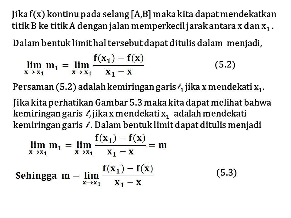Jika f(x) kontinu pada selang [A,B] maka kita dapat mendekatkan titik B ke titik A dengan jalan memperkecil jarak antara x dan x 1. Dalam bentuk limit