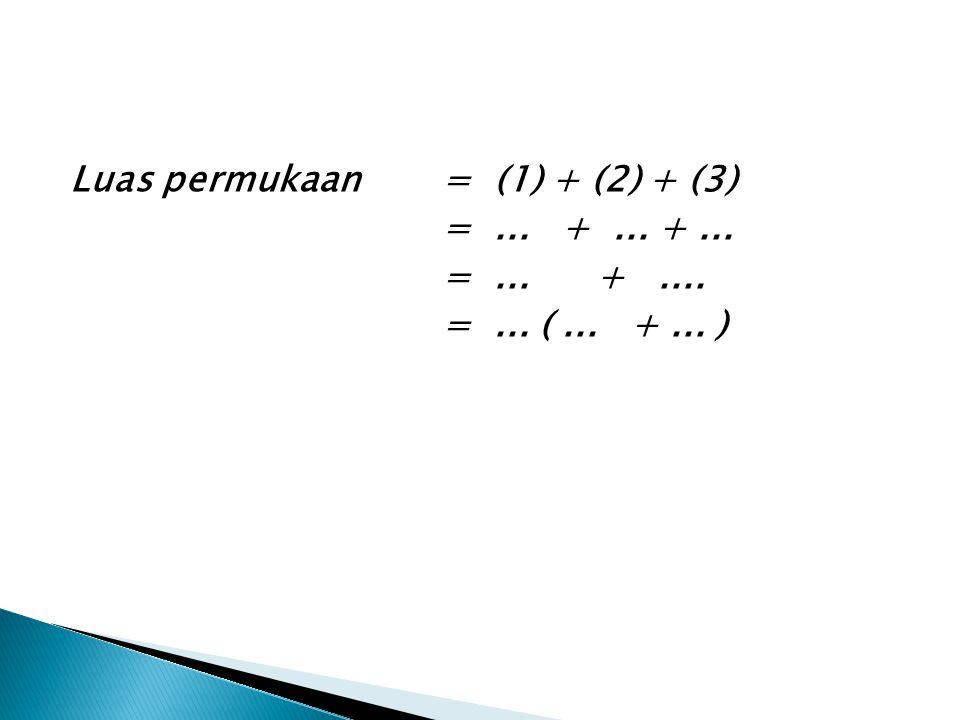 Luas permukaan= (1) + (2) + (3) =... +... +... =... +.... =... (... +... )