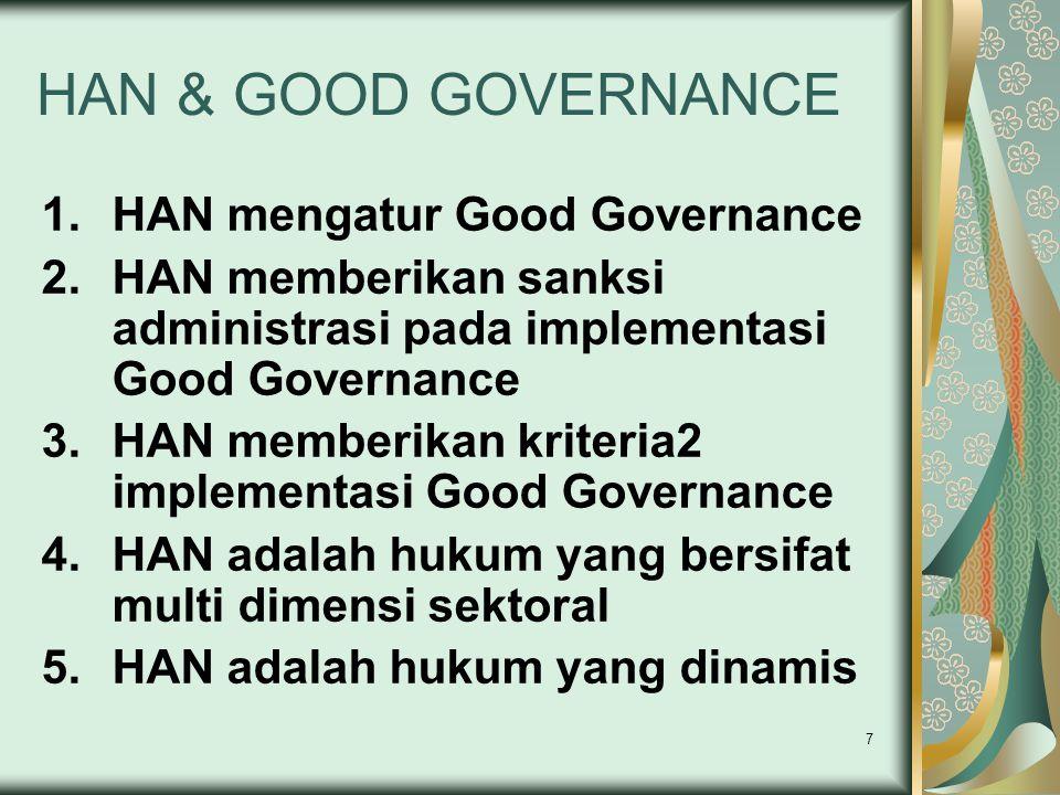 7 HAN & GOOD GOVERNANCE 1.HAN mengatur Good Governance 2.HAN memberikan sanksi administrasi pada implementasi Good Governance 3.HAN memberikan kriteri