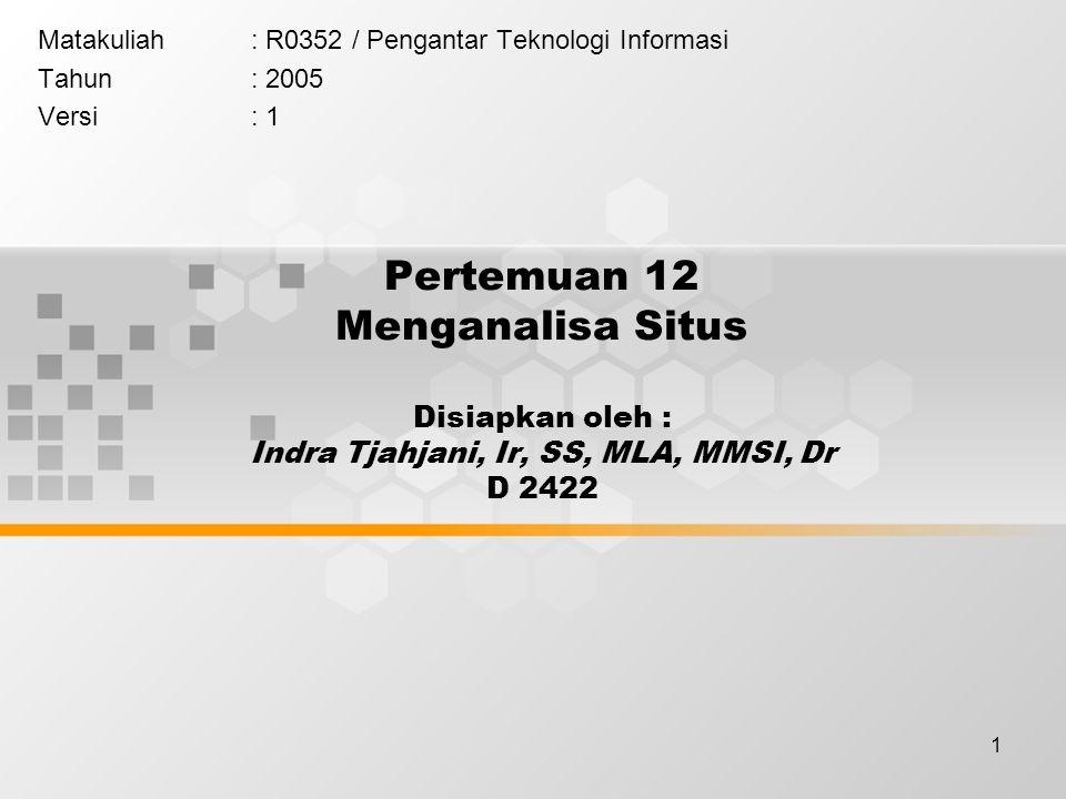 1 Pertemuan 12 Menganalisa Situs Disiapkan oleh : Indra Tjahjani, Ir, SS, MLA, MMSI, Dr D 2422 Matakuliah: R0352 / Pengantar Teknologi Informasi Tahun: 2005 Versi: 1