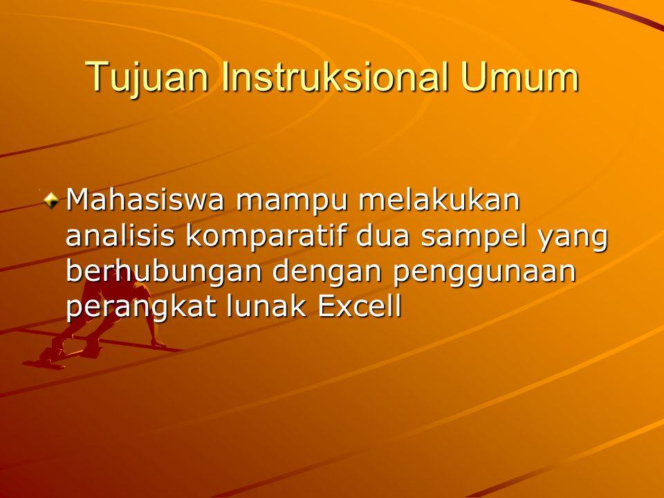 Tujuan Instruksional Khusus Mahasiswa mampu mengetahui pemanfaatan uji korelasi dan regrasi Mahasiswa mampu melakukan pengisian data untuk analisis asosiatif pada perangkat lunak Excell Mahasiswa mampu melakukan analisis data dengan menggunakan uji korelasi dan regrasi pada perangkat lunak Excell