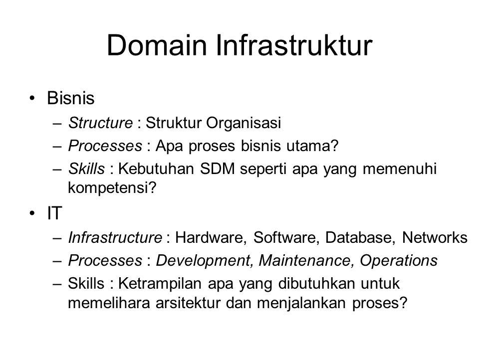 Domain Infrastruktur Bisnis –Structure : Struktur Organisasi –Processes : Apa proses bisnis utama? –Skills : Kebutuhan SDM seperti apa yang memenuhi k