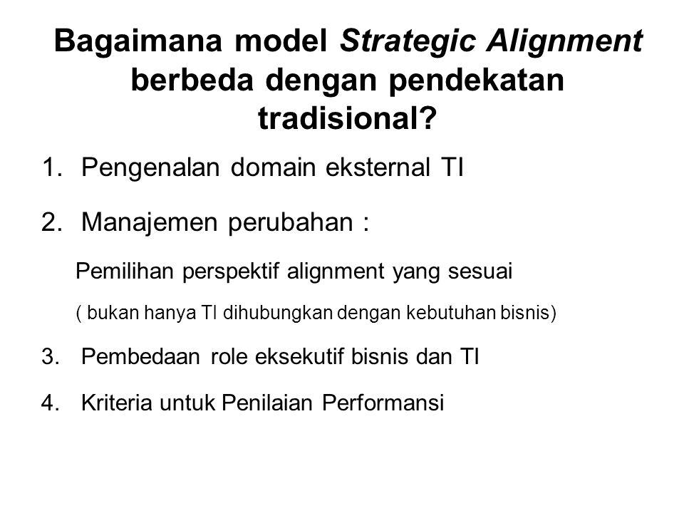 Bagaimana model Strategic Alignment berbeda dengan pendekatan tradisional? 1.Pengenalan domain eksternal TI 2.Manajemen perubahan : Pemilihan perspekt