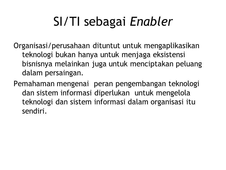 SI/TI sebagai Enabler Organisasi/perusahaan dituntut untuk mengaplikasikan teknologi bukan hanya untuk menjaga eksistensi bisnisnya melainkan juga unt