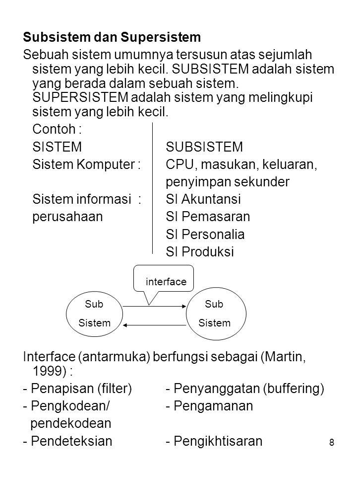 8 Subsistem dan Supersistem Sebuah sistem umumnya tersusun atas sejumlah sistem yang lebih kecil. SUBSISTEM adalah sistem yang berada dalam sebuah sis