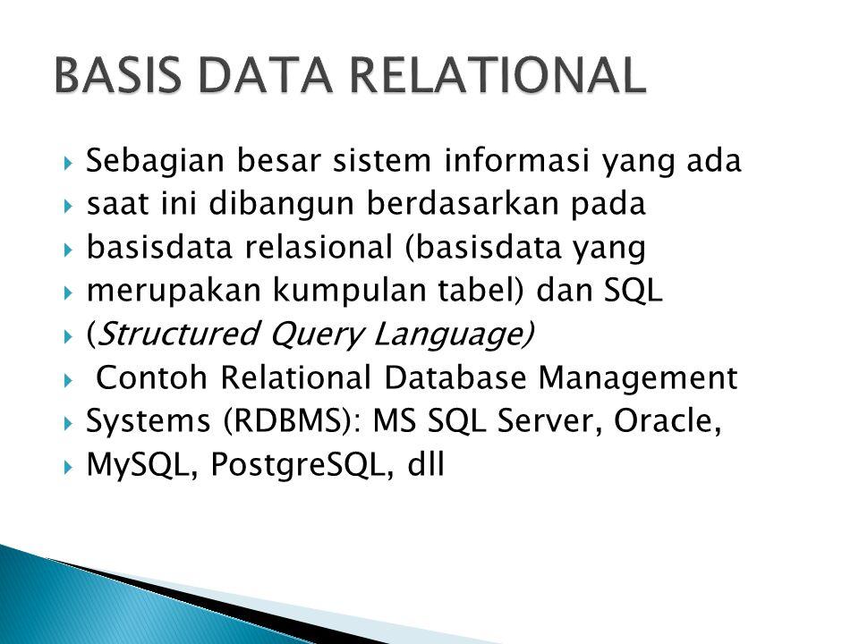  Sebagian besar sistem informasi yang ada  saat ini dibangun berdasarkan pada  basisdata relasional (basisdata yang  merupakan kumpulan tabel) dan SQL  (Structured Query Language)  Contoh Relational Database Management  Systems (RDBMS): MS SQL Server, Oracle,  MySQL, PostgreSQL, dll