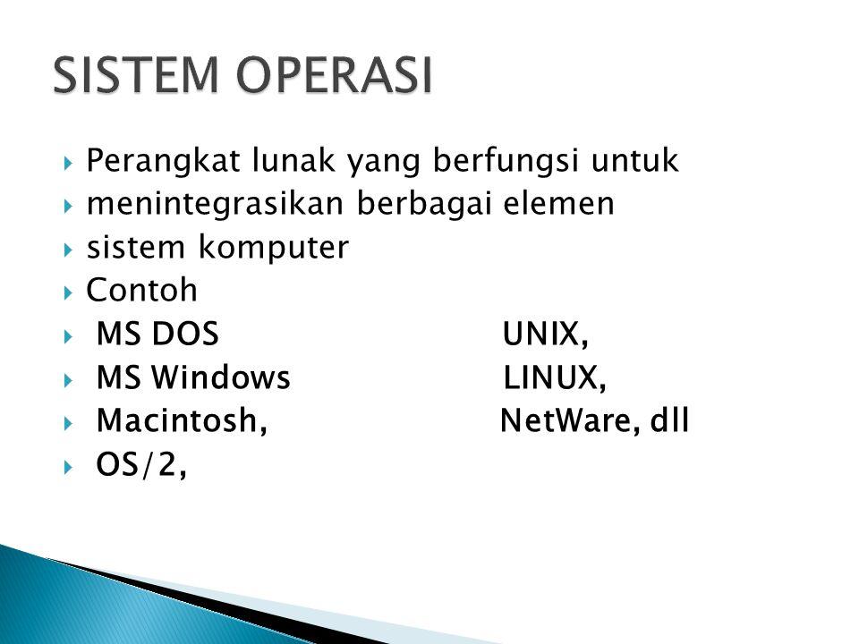  Perangkat lunak yang berfungsi untuk  menintegrasikan berbagai elemen  sistem komputer  Contoh  MS DOS UNIX,  MS Windows LINUX,  Macintosh, NetWare, dll  OS/2,
