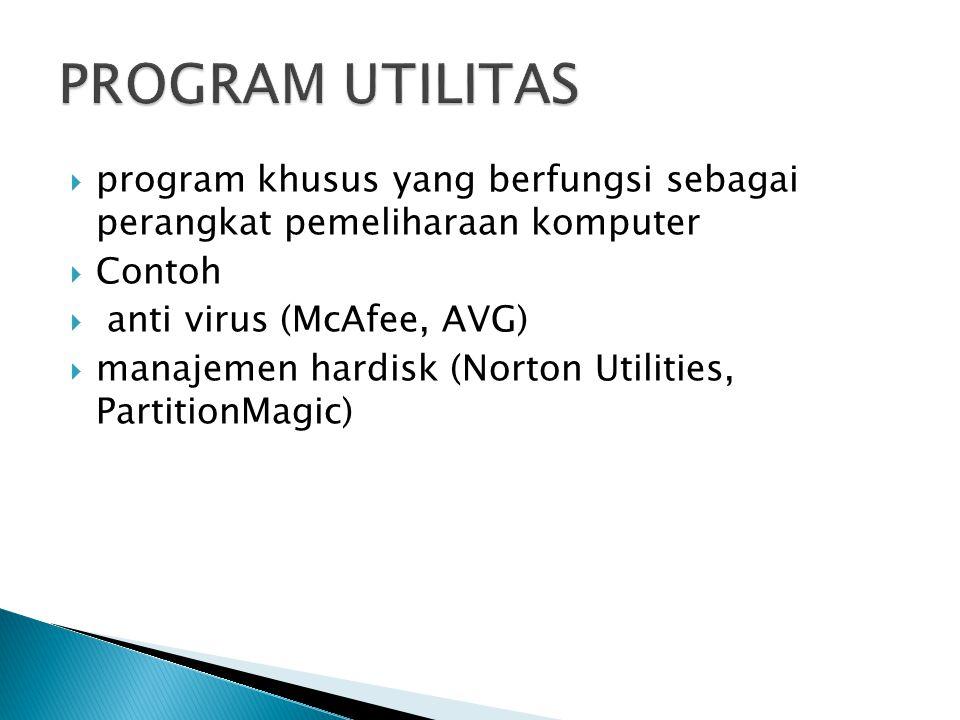  program yang dikembangkan untuk  memenuhi kebutuhan yang spesifik  Contoh  aplikasi akuntansi,  aplikasi perbankan,  aplikasi pendidikan,  aplikasi multimedia