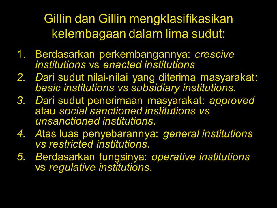 Gillin dan Gillin mengklasifikasikan kelembagaan dalam lima sudut: 1.Berdasarkan perkembangannya: crescive institutions vs enacted institutions 2.Dari