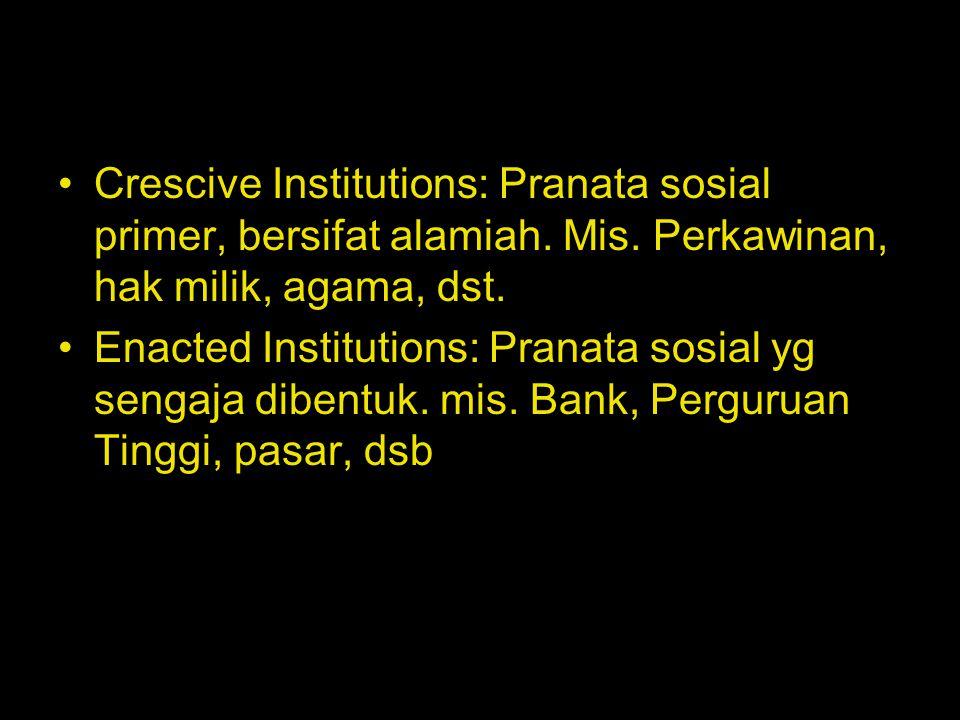Crescive Institutions: Pranata sosial primer, bersifat alamiah. Mis. Perkawinan, hak milik, agama, dst. Enacted Institutions: Pranata sosial yg sengaj