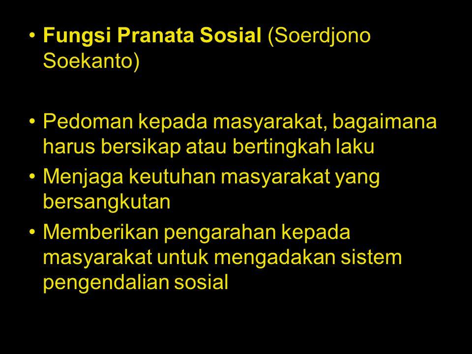 Fungsi Pranata Sosial (Soerdjono Soekanto) Pedoman kepada masyarakat, bagaimana harus bersikap atau bertingkah laku Menjaga keutuhan masyarakat yang b