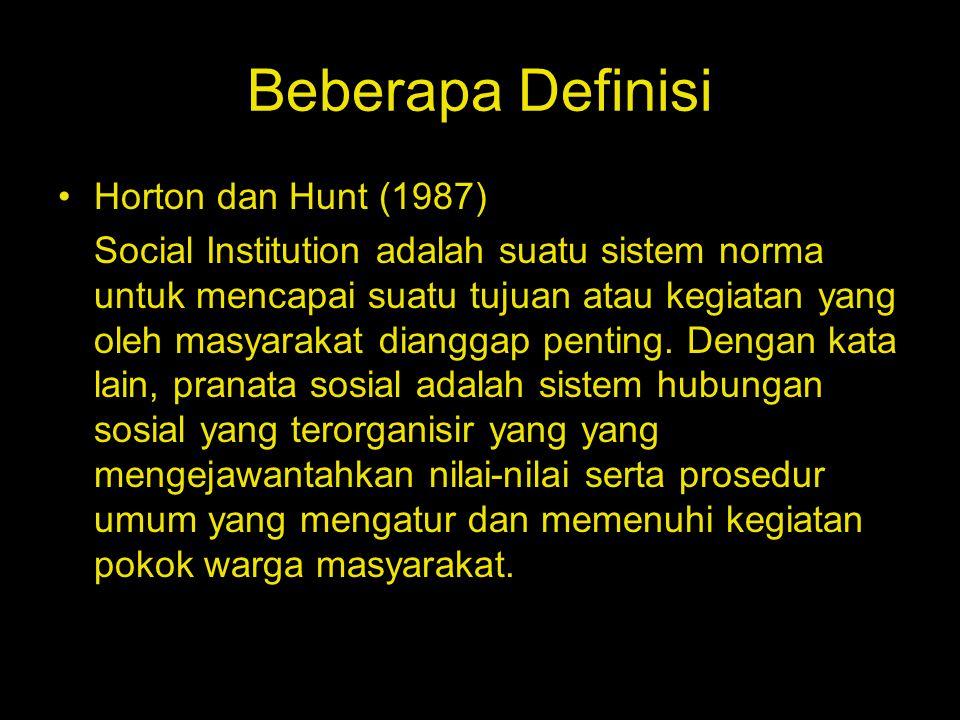 Beberapa Definisi Horton dan Hunt (1987) Social Institution adalah suatu sistem norma untuk mencapai suatu tujuan atau kegiatan yang oleh masyarakat d