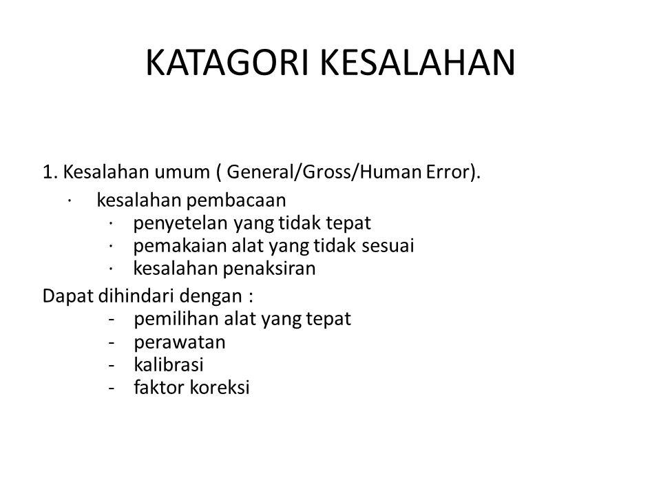 KATAGORI KESALAHAN 1. Kesalahan umum ( General/Gross/Human Error). · kesalahan pembacaan · penyetelan yang tidak tepat · pemakaian alat yang tidak ses