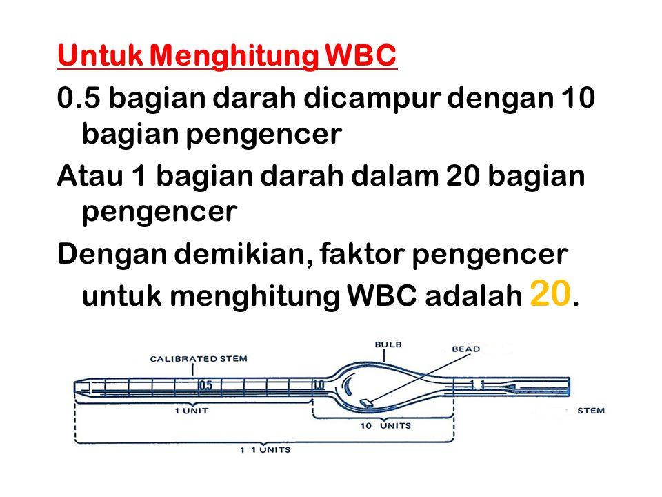 Untuk Menghitung WBC 0.5 bagian darah dicampur dengan 10 bagian pengencer Atau 1 bagian darah dalam 20 bagian pengencer Dengan demikian, faktor pengen
