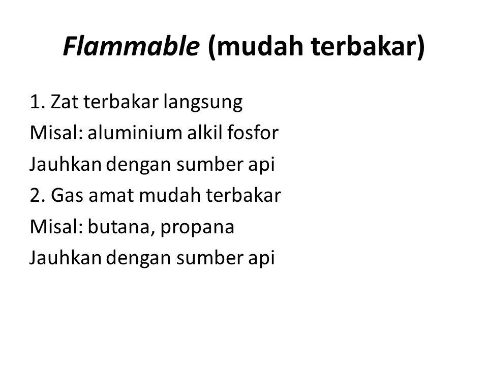 Flammable (mudah terbakar) 1. Zat terbakar langsung Misal: aluminium alkil fosfor Jauhkan dengan sumber api 2. Gas amat mudah terbakar Misal: butana,