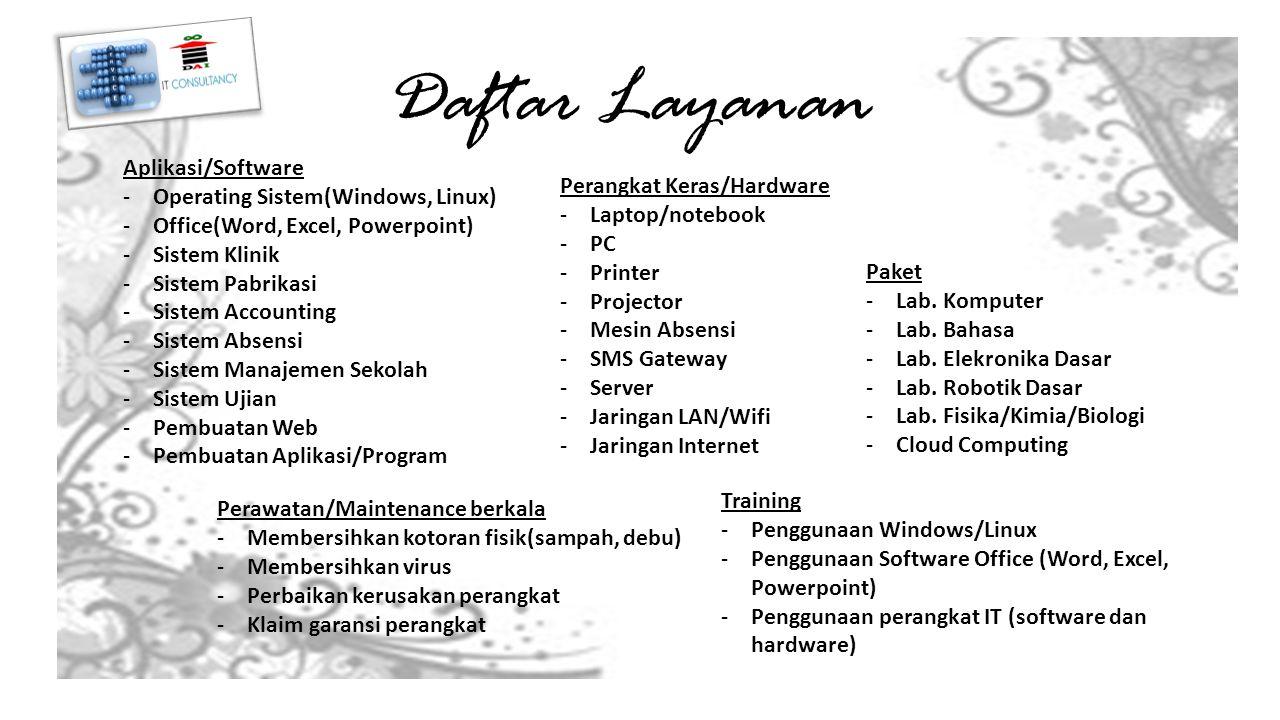 Aplikasi/Software -Operating Sistem(Windows, Linux) -Office(Word, Excel, Powerpoint) -Sistem Klinik -Sistem Pabrikasi -Sistem Accounting -Sistem Absensi -Sistem Manajemen Sekolah -Sistem Ujian -Pembuatan Web -Pembuatan Aplikasi/Program Perangkat Keras/Hardware -Laptop/notebook -PC -Printer -Projector -Mesin Absensi -SMS Gateway -Server -Jaringan LAN/Wifi -Jaringan Internet Perawatan/Maintenance berkala -Membersihkan kotoran fisik(sampah, debu) -Membersihkan virus -Perbaikan kerusakan perangkat -Klaim garansi perangkat Training -Penggunaan Windows/Linux -Penggunaan Software Office (Word, Excel, Powerpoint) -Penggunaan perangkat IT (software dan hardware) Daftar Layanan Paket -Lab.