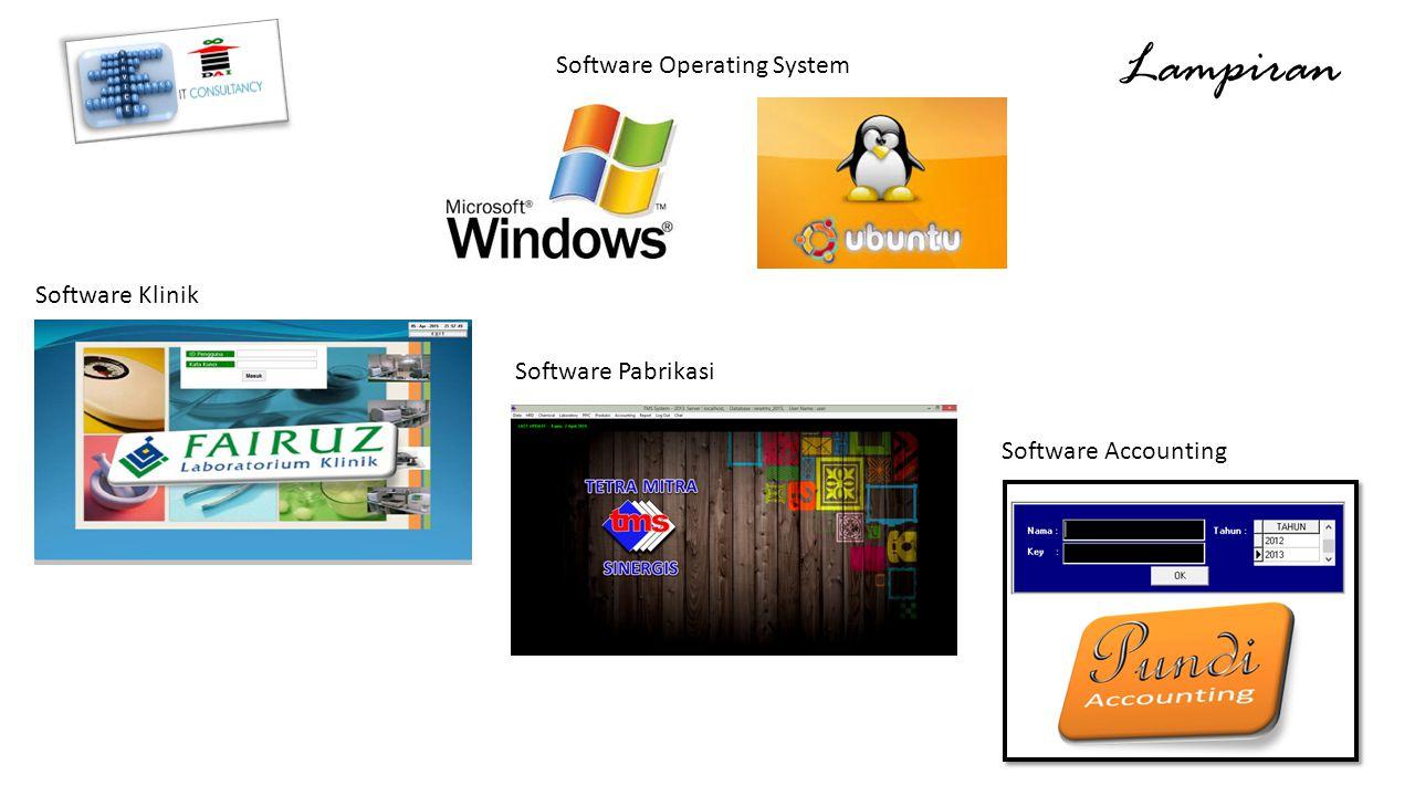 Lampiran Software Operating System Software Klinik Software Pabrikasi Software Accounting