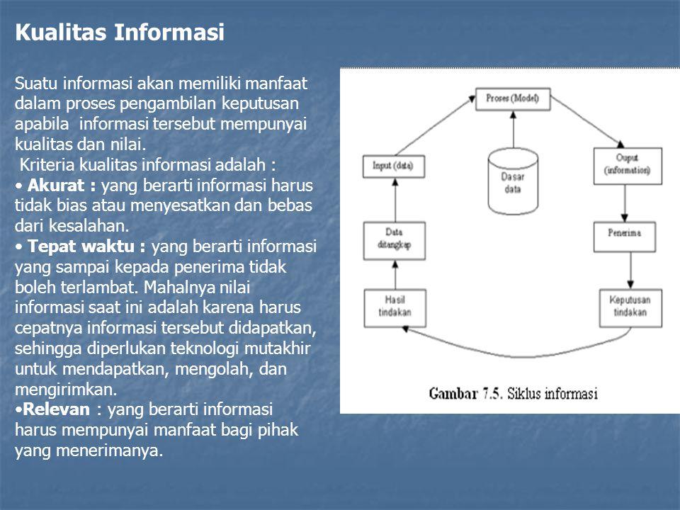 Kualitas Informasi Suatu informasi akan memiliki manfaat dalam proses pengambilan keputusan apabila informasi tersebut mempunyai kualitas dan nilai. K