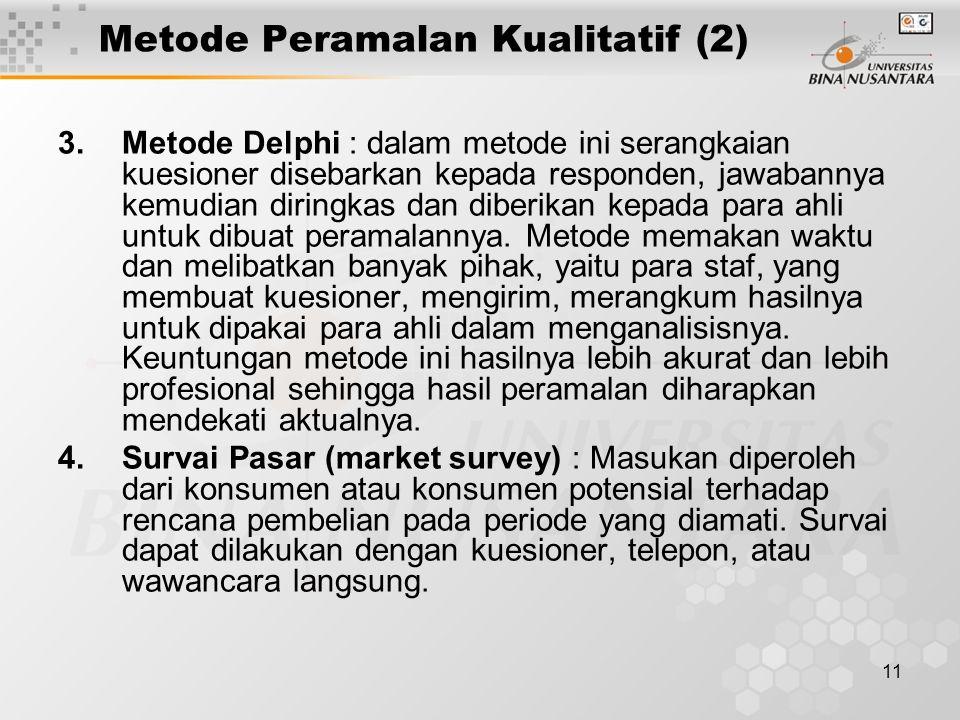 11 Metode Peramalan Kualitatif (2) 3.Metode Delphi : dalam metode ini serangkaian kuesioner disebarkan kepada responden, jawabannya kemudian diringkas