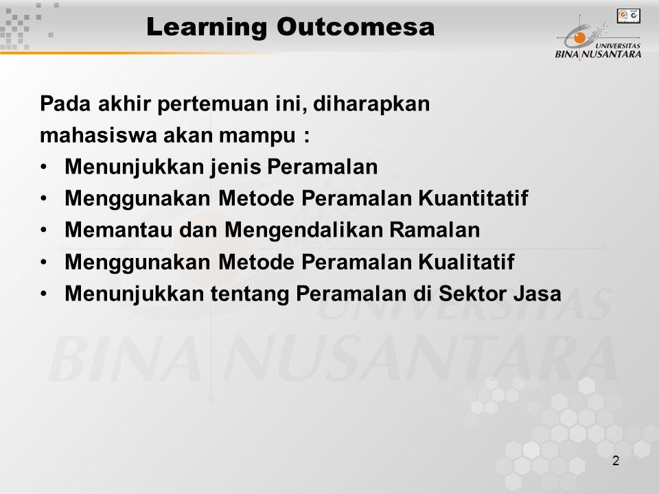 2 Learning Outcomesa Pada akhir pertemuan ini, diharapkan mahasiswa akan mampu : Menunjukkan jenis Peramalan Menggunakan Metode Peramalan Kuantitatif