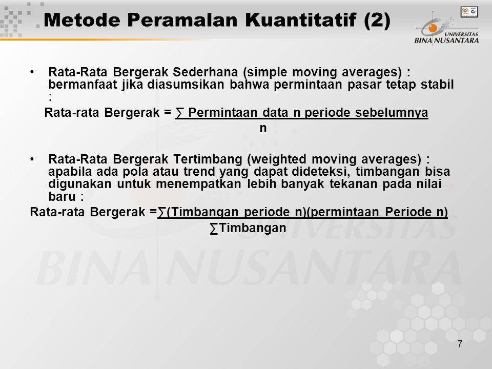7 Metode Peramalan Kuantitatif (2) Rata-Rata Bergerak Sederhana (simple moving averages) : bermanfaat jika diasumsikan bahwa permintaan pasar tetap st