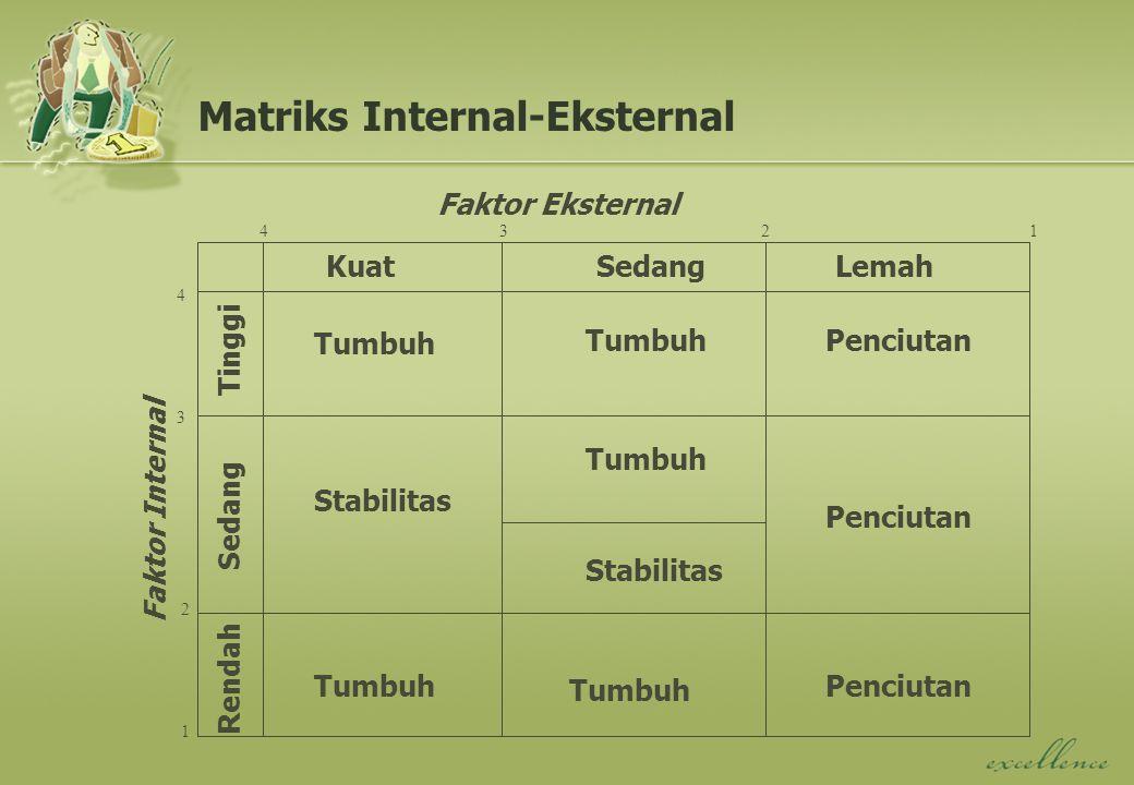 KuatSedangLemah Faktor Eksternal Tinggi Sedang Rendah Faktor Internal Tumbuh Stabilitas Penciutan 1234 4 3 2 1 Matriks Internal-Eksternal