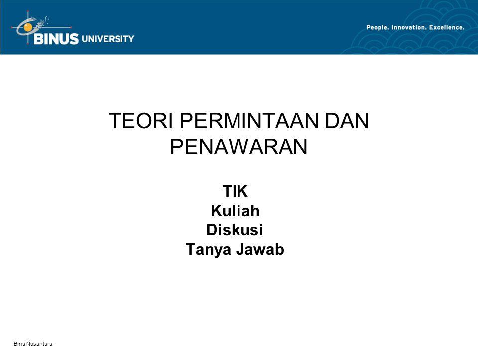 Bina Nusantara TEORI PERMINTAAN DAN PENAWARAN TIK Kuliah Diskusi Tanya Jawab