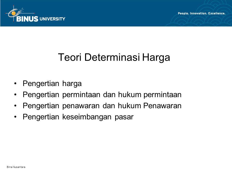 Bina Nusantara Teori Determinasi Harga Pengertian harga Pengertian permintaan dan hukum permintaan Pengertian penawaran dan hukum Penawaran Pengertian keseimbangan pasar