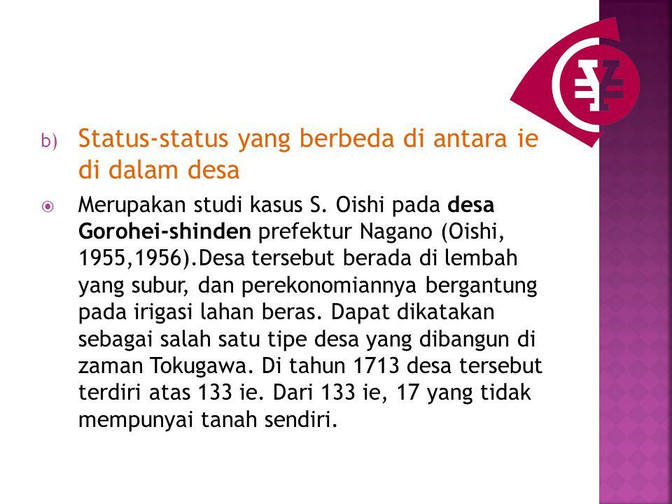 b) Status-status yang berbeda di antara ie di dalam desa  Merupakan studi kasus S.