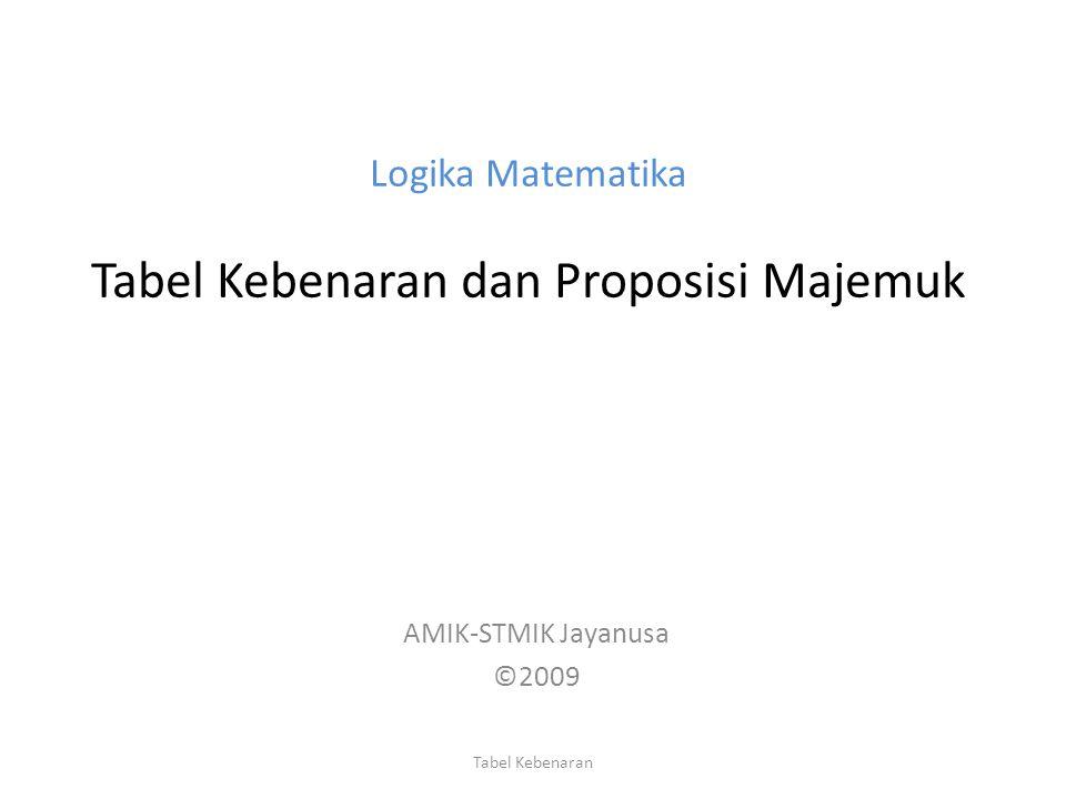 Logika Matematika Tabel Kebenaran dan Proposisi Majemuk AMIK-STMIK Jayanusa ©2009 Tabel Kebenaran