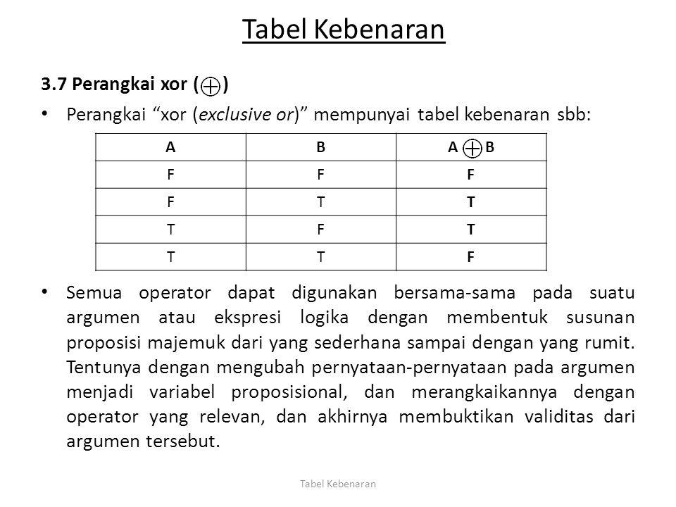 """Tabel Kebenaran 3.7 Perangkai xor ( ) Perangkai """"xor (exclusive or)"""" mempunyai tabel kebenaran sbb: Semua operator dapat digunakan bersama-sama pada s"""