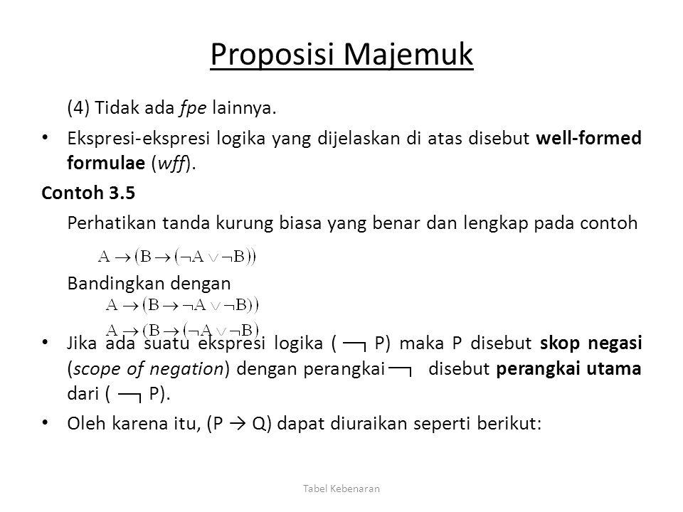 Proposisi Majemuk (4) Tidak ada fpe lainnya. Ekspresi-ekspresi logika yang dijelaskan di atas disebut well-formed formulae (wff). Contoh 3.5 Perhatika