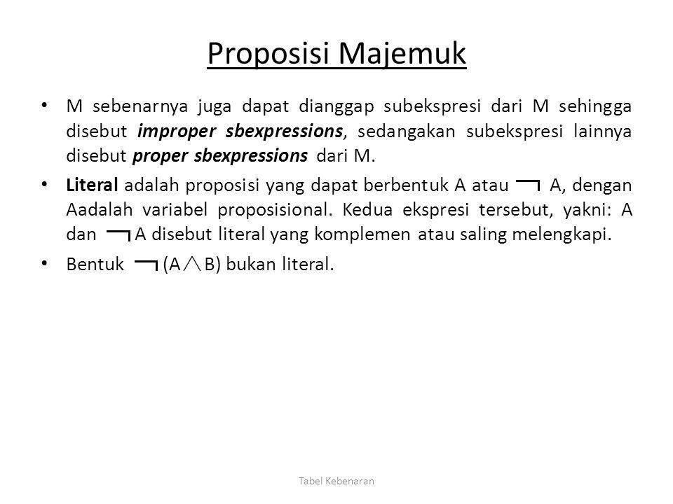 Proposisi Majemuk M sebenarnya juga dapat dianggap subekspresi dari M sehingga disebut improper sbexpressions, sedangakan subekspresi lainnya disebut
