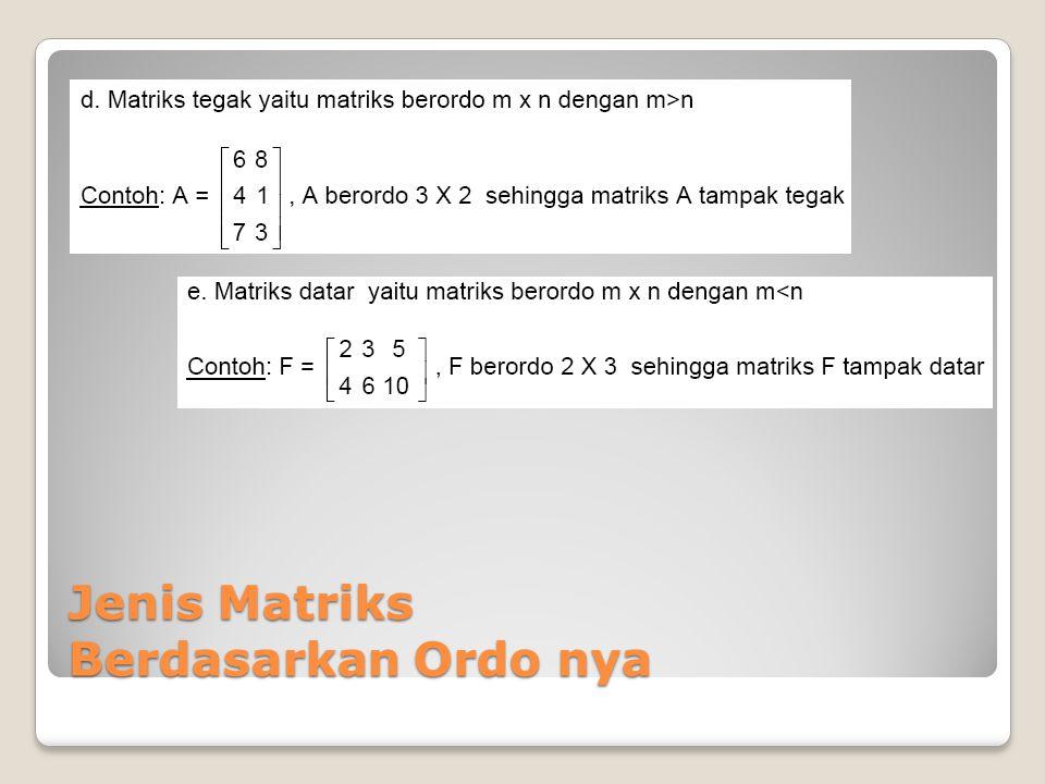 Perkalian Matriks Dengan Matriks Operasi perkalian matriks berbeda dengan operasi penjumlahan/pengurangan matriks yang cukup sederhana.penjumlahan/pengurangan matriks Dua matriks dapat dioperasikan dengan perkalian jika banyak kolom matriks pertama sama dengan banyak baris matriks kedua, sedangkan hasil perkalian matriksnya akan memiliki baris yang sama banyak dengan baris matriks pertama dan memiliki kolom yang sama banyak dengan kolom matriks kedua