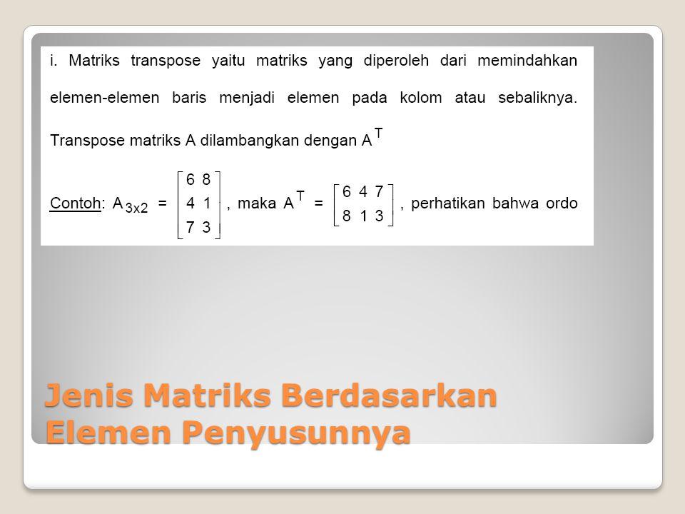 Penjumlahan Matriks Dua matriks dapat dijumlahkan apabila kedua matriks tersebut memiliki ordo yang sama.
