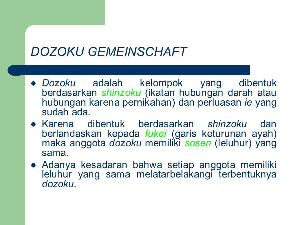 DOZOKU GEMEINSCHAFT Dozoku adalah kelompok yang dibentuk berdasarkan shinzoku (ikatan hubungan darah atau hubungan karena pernikahan) dan perluasan ie