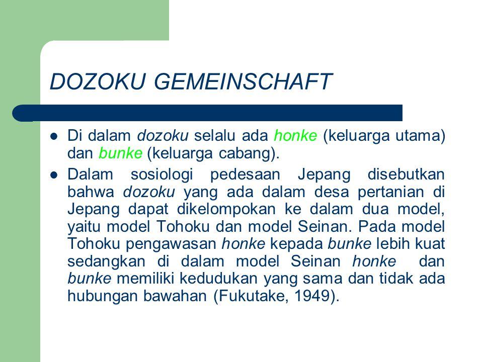 DOZOKU GEMEINSCHAFT Di dalam dozoku selalu ada honke (keluarga utama) dan bunke (keluarga cabang). Dalam sosiologi pedesaan Jepang disebutkan bahwa do