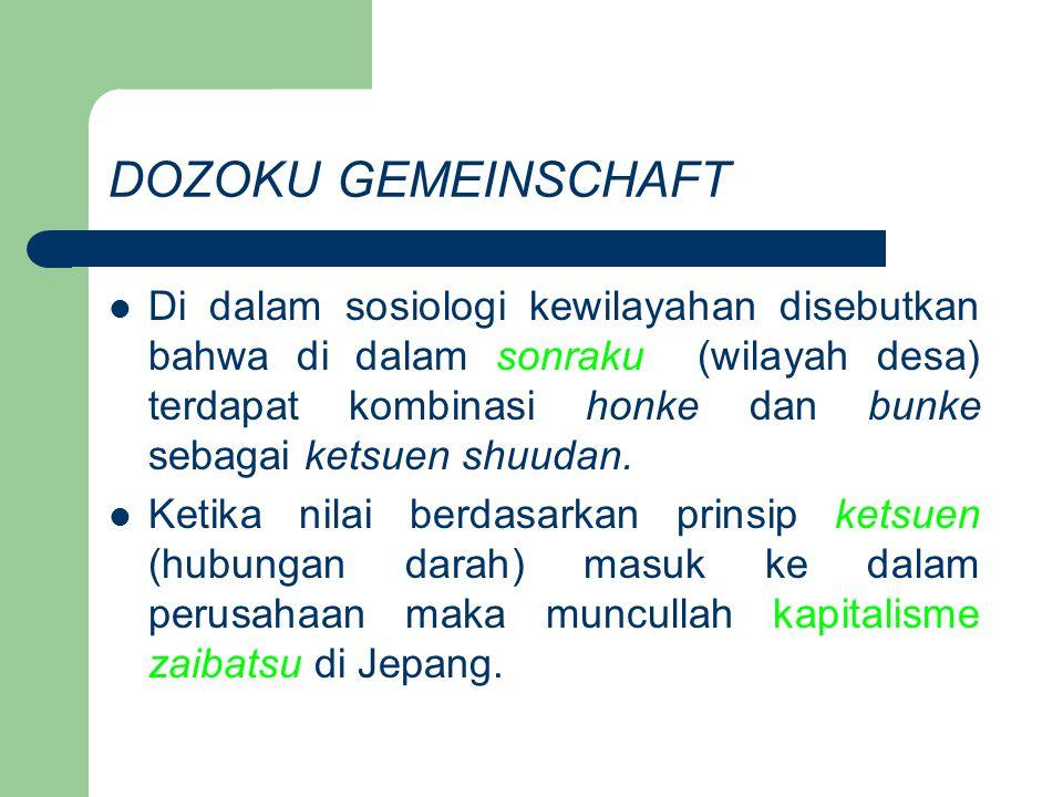 DOZOKU GEMEINSCHAFT Zaibatsu lahir sebagai hasil dari kapitalisme yang disokong oleh prinsip ketsuen.