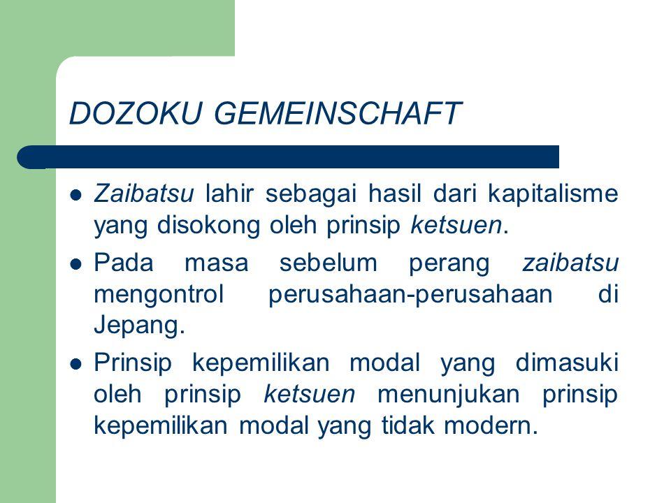 DOZOKU GEMEINSCHAFT Zaibatsu lahir sebagai hasil dari kapitalisme yang disokong oleh prinsip ketsuen. Pada masa sebelum perang zaibatsu mengontrol per