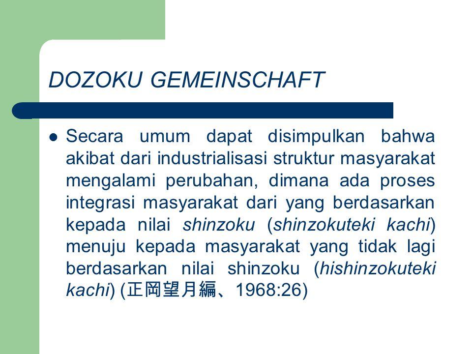 DOZOKU GEMEINSCHAFT Industrialisasi merusak kesadaran akan pentingnya ikatan hubungan berdasarkan shinzoku, tetapi di sisi lain jika kesadaran terhadap shinzoku menjadi kuat maka akan menjadi penghalang bagi proses industrialisasi.