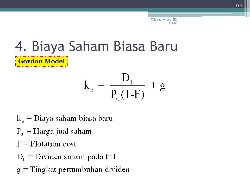4. Biaya Saham Biasa Baru 10 Trisnadi Wijaya, SE., S.Kom Gordon Model