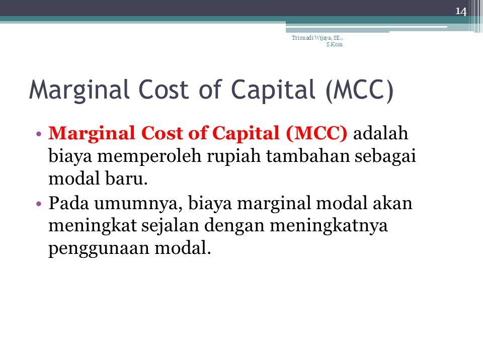 Marginal Cost of Capital (MCC) Marginal Cost of Capital (MCC) adalah biaya memperoleh rupiah tambahan sebagai modal baru.