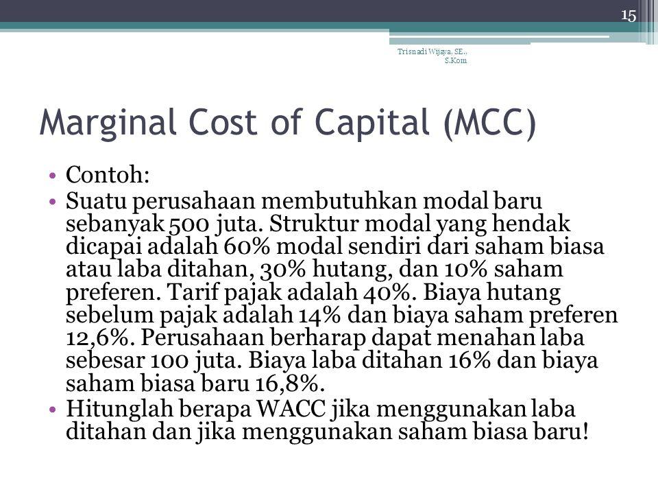 Marginal Cost of Capital (MCC) Contoh: Suatu perusahaan membutuhkan modal baru sebanyak 500 juta.