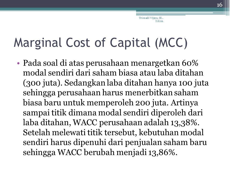 Marginal Cost of Capital (MCC) Pada soal di atas perusahaan menargetkan 60% modal sendiri dari saham biasa atau laba ditahan (300 juta).