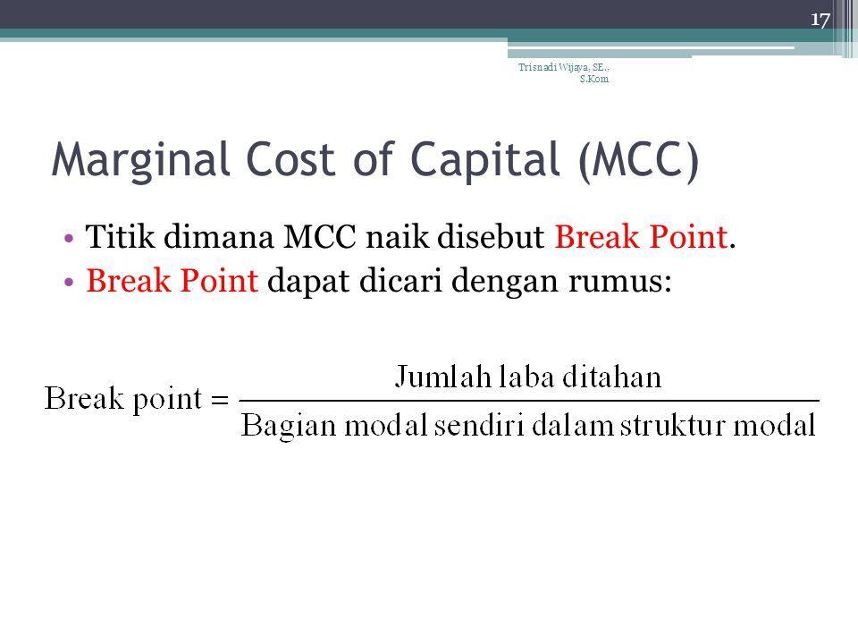 Marginal Cost of Capital (MCC) Titik dimana MCC naik disebut Break Point.