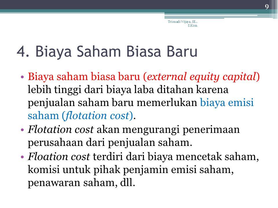 4. Biaya Saham Biasa Baru Biaya saham biasa baru (external equity capital) lebih tinggi dari biaya laba ditahan karena penjualan saham baru memerlukan