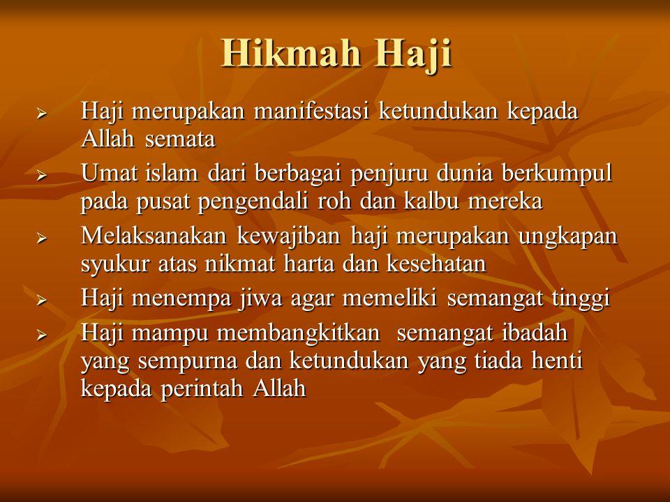 Hikmah Haji HHHHaji merupakan manifestasi ketundukan kepada Allah semata UUUUmat islam dari berbagai penjuru dunia berkumpul pada pusat pengen