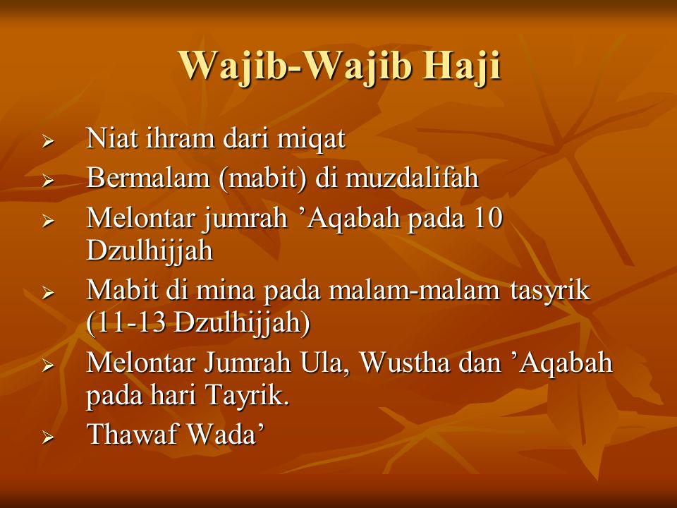 Wajib-Wajib Haji  Niat ihram dari miqat  Bermalam (mabit) di muzdalifah  Melontar jumrah 'Aqabah pada 10 Dzulhijjah  Mabit di mina pada malam-mala